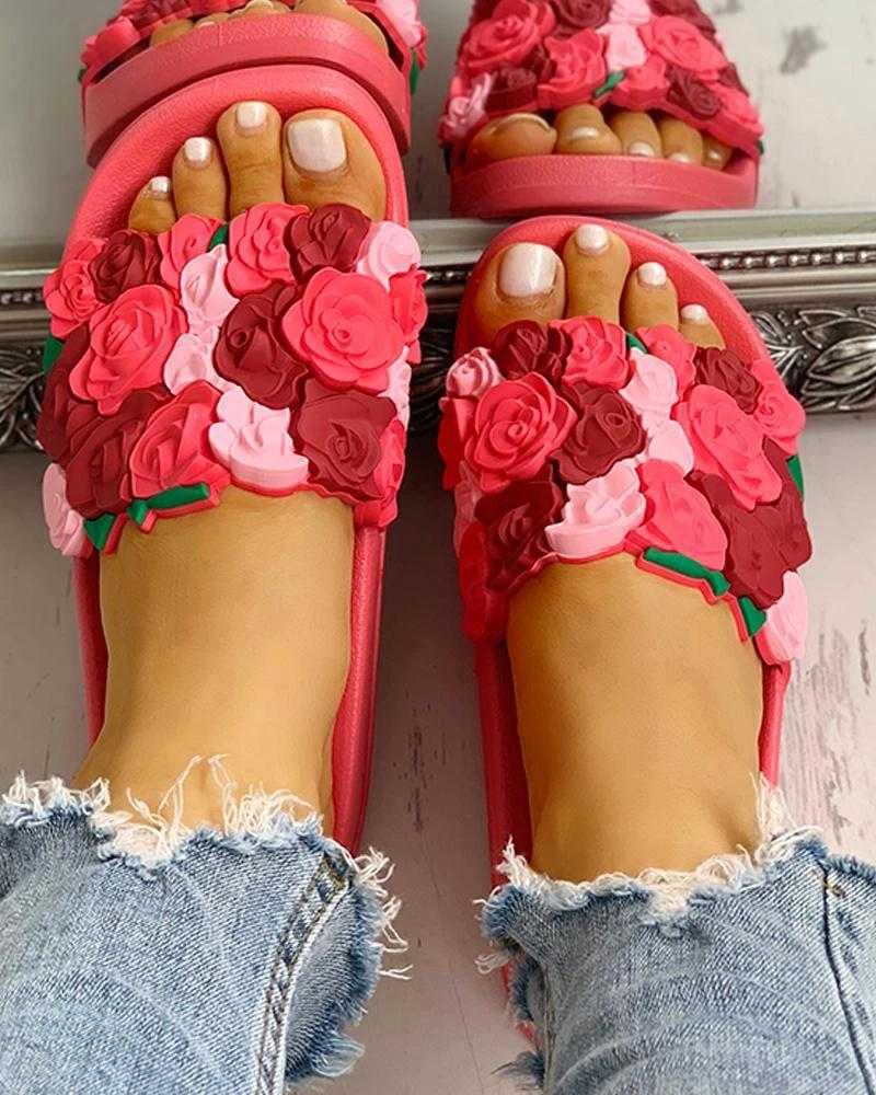 Vieley Colorful Rose Embellished Stitching Color Beach Slides