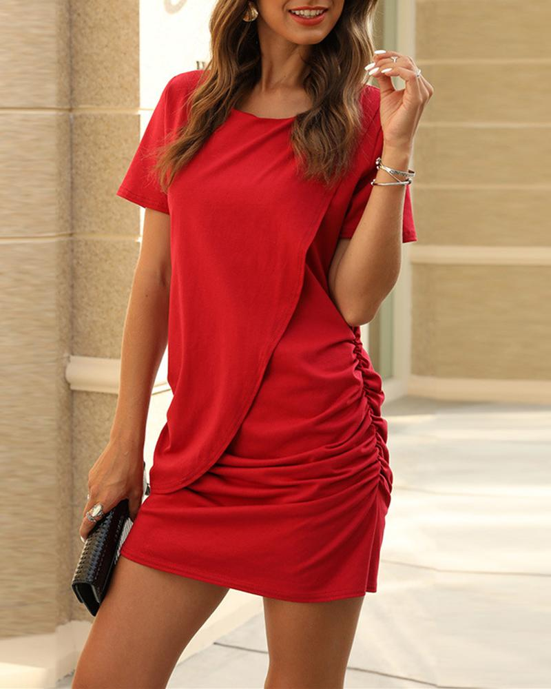 Vieley Solid Color Hip Dress Short Sleeve Ruched Panelled Style Casual Skirts
