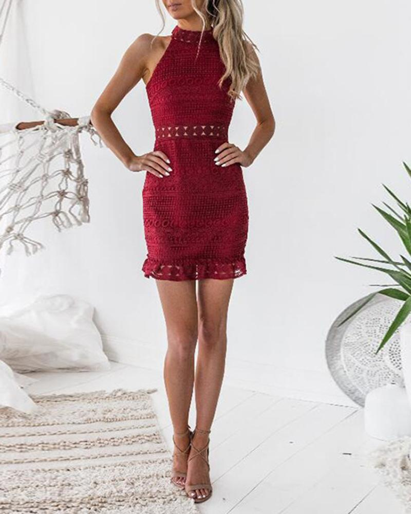 Vieley High Necked Mini Dress Back Zipper Lace Neckline Hollow-out Sleeveless Ruffles Hem Skirts