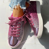 Vieley Womens Glittering Lace Up Comfortable Sneskers
