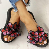 Vieley Womens Butterfly Decoration Slip On Slides