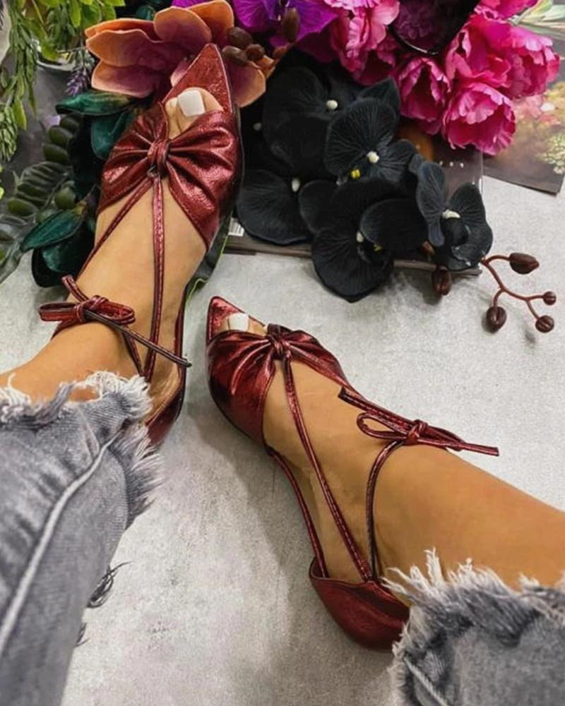 Vieley Point Open Toe Bowknot Lace-up Ankle Strap Solid Color Sandals