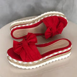 Vieley Womens Cute Bowtie Espadrille Slip On Platform Slides