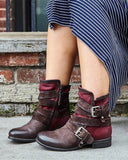 Vieley Women Booties Buckled Ankle Strap Round Toe Flat Short Boots