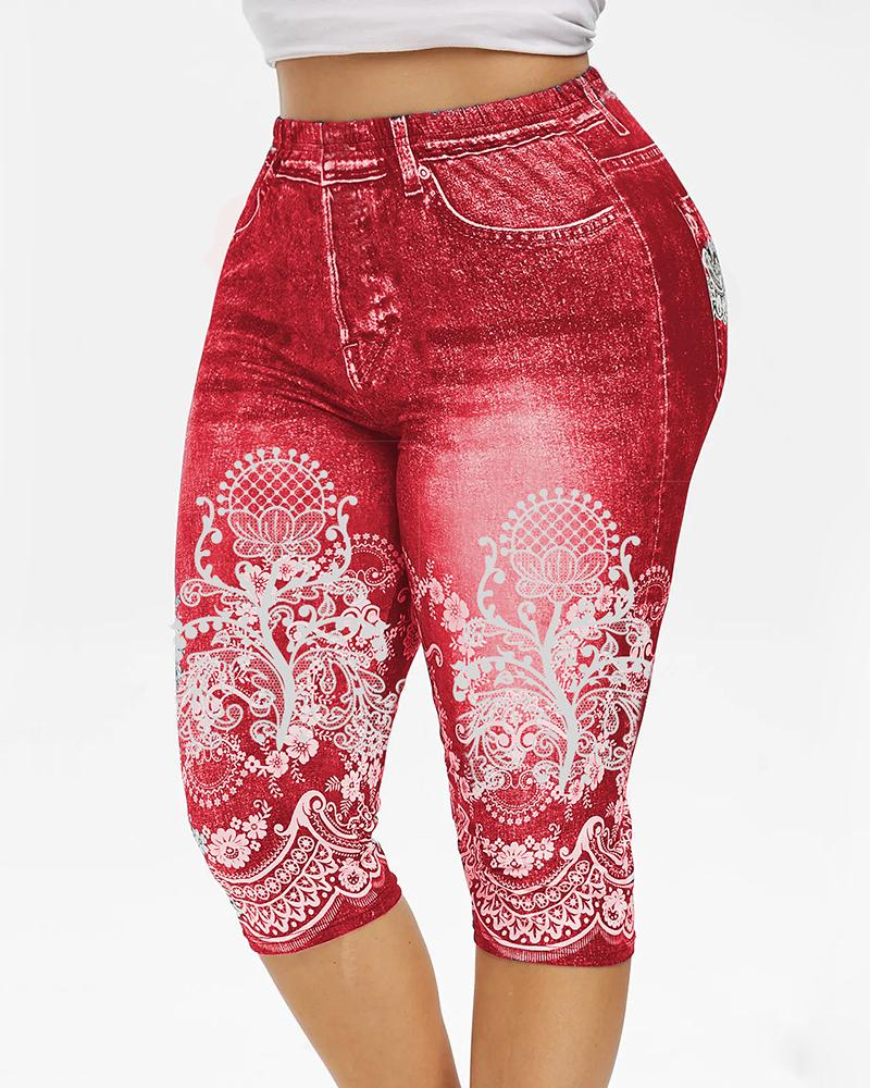 Vieley Womens Cropped 3D Floral Print Short Jeggings