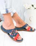 Vieley Flower Emblished Stitching Color Criss-cross Strap Slip-on Sandals