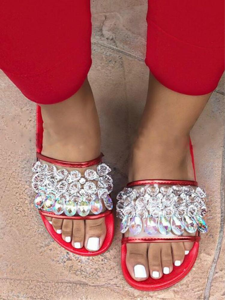 Vieley Bling Rhinestone Emblished Transparent Flats Crystal Beach Slides