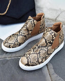Vieley Stylish Animal Print Slip-On Ankle Sneakers