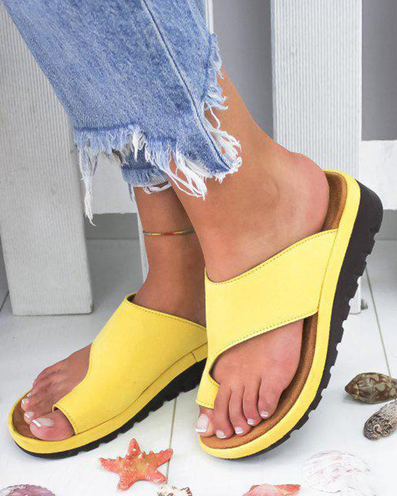 Vieley Toe Ring Platform Wedges Single Strap Solid Color Causal Slides