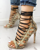 Vieley Womens Strappy Lace up Stilettos Party Shoes