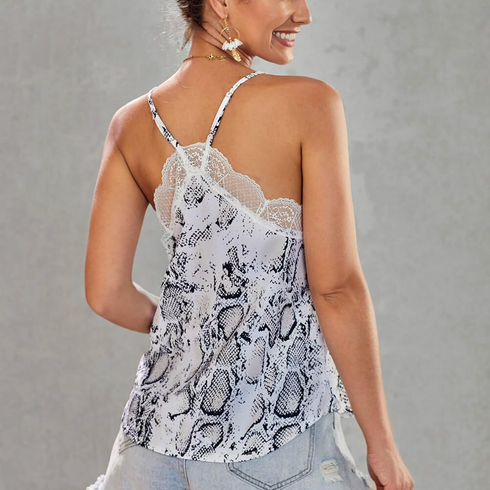 Women's V Neck Sleeveless Lace Trim Spaghetti Strap Cami Tank Top