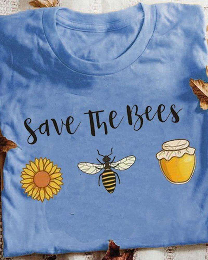 Vieley Save The Bees Letter Printed Tees Short Sleeves T-shirts Graphic Tops