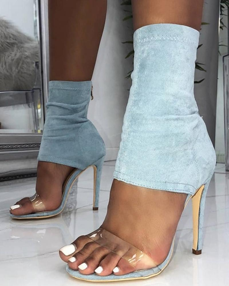 Vieley Zipper Transparent Strap High Heeled Sandals Open Toe Heels