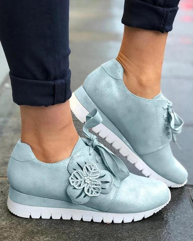 vieley Floral Lace Up Wedge Walking Sneakers