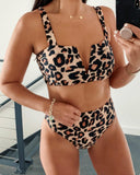 Vieley Womens Leopard High Wasited Bikini V Cut 2 Piece String Back Swimsuits