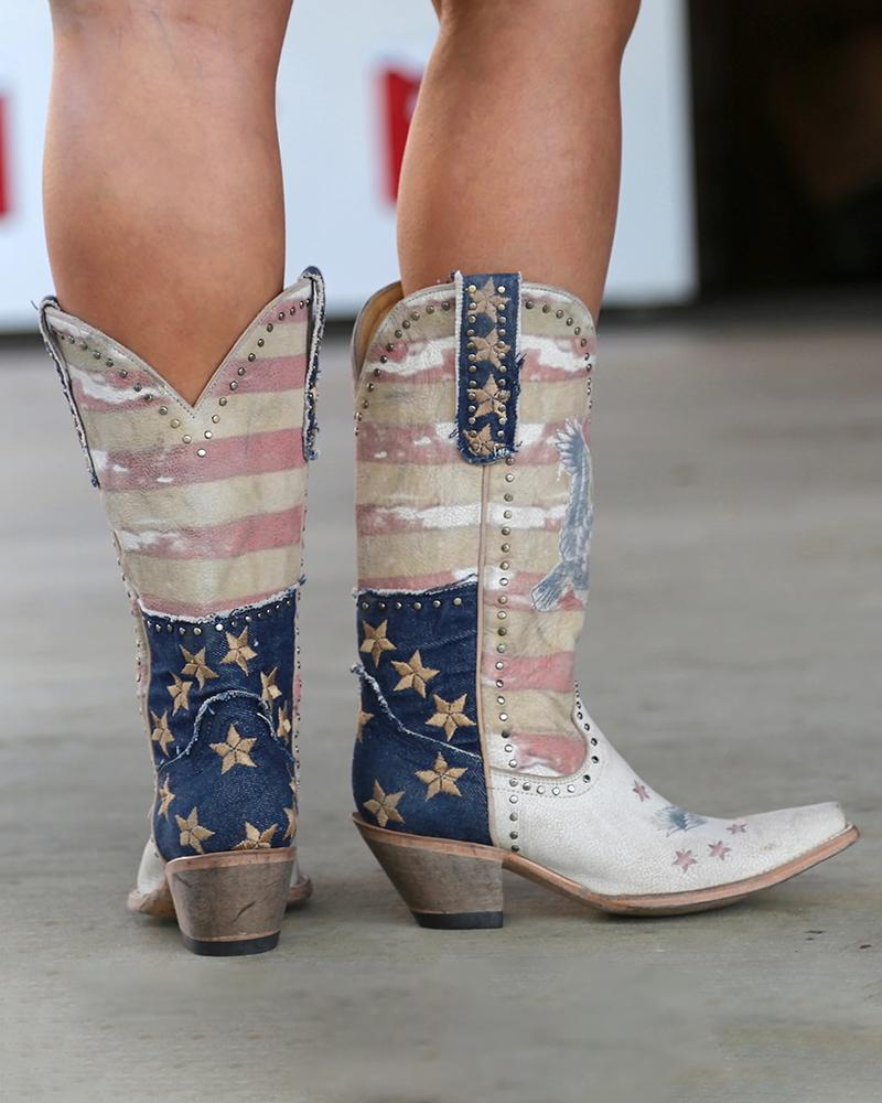 Vieley Pointed Toe Chunky Heeled Studded Western Boots