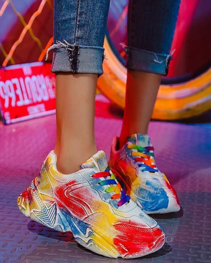 Vieley Round Toe Colorful Platform Sneakers