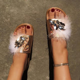 Vieley Womens Peacock Rhinestones Sequins Fluff Decoration Slides