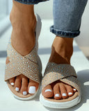 Vieley Rhinestone Embellished Criss-cross Strap Comfortable Slides