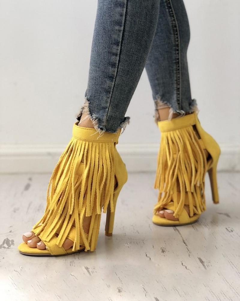 Vieley Solid Color Tassel Stilettos Open Toe Back Zipper Strappy Sandals