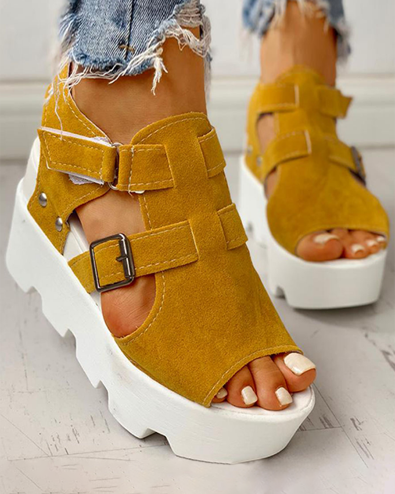 Vieley Double Strap Buckled Platform Sandals