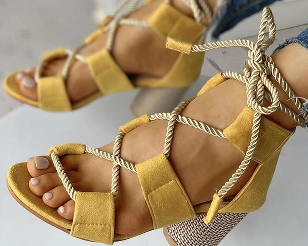 Vieley Lace-up Hollow-out Colorblock Chunky Heel Open Toe Rope Tie Sandals