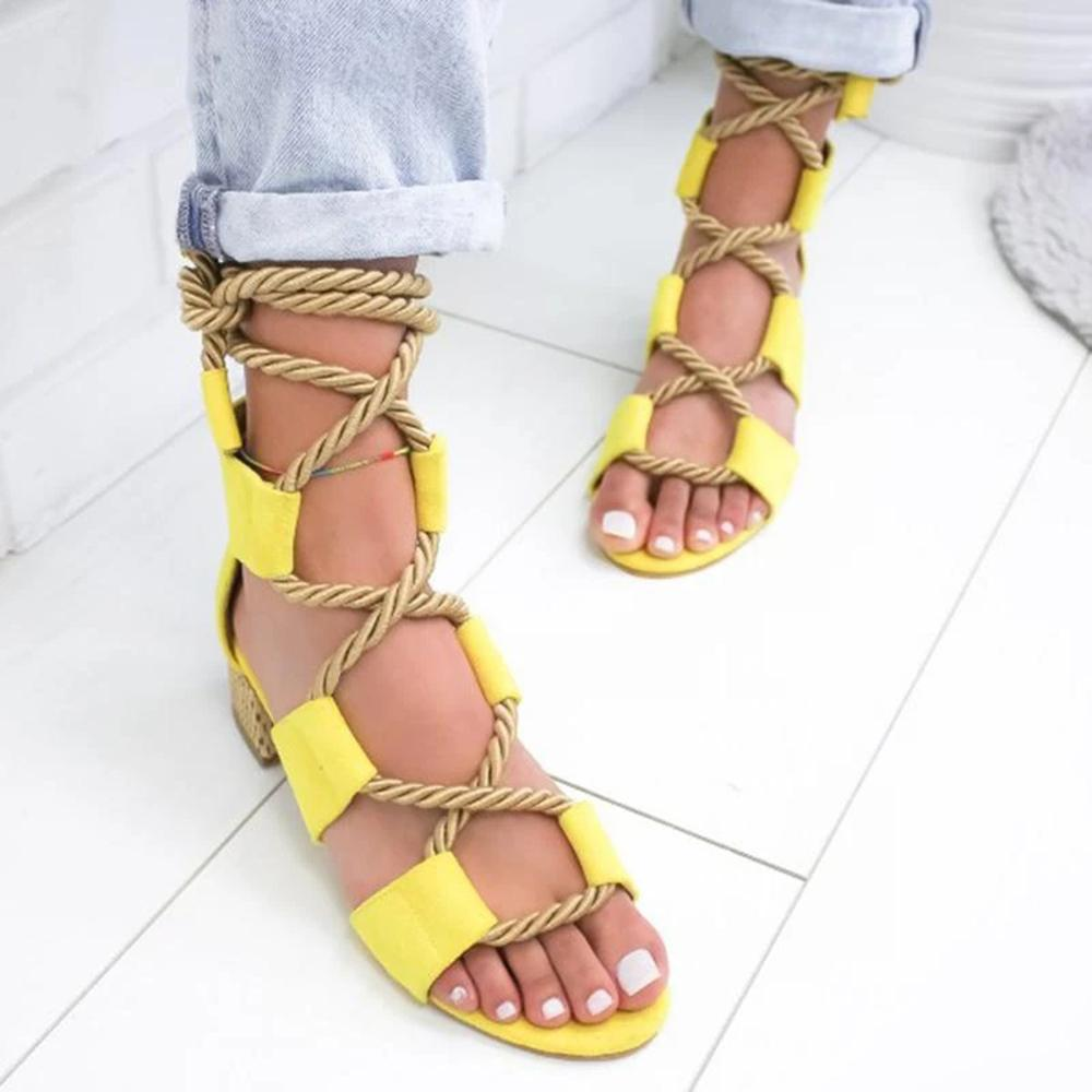 Vieley Women's Lace Up Block Heel Sandals