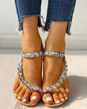 Vieley Rhinestone Ankle Strap Back Strap Sandals