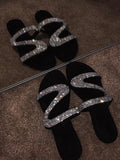 Vieley Silver Glitter Crystal Cross Strap Flats Rhinestone Emblished Slides