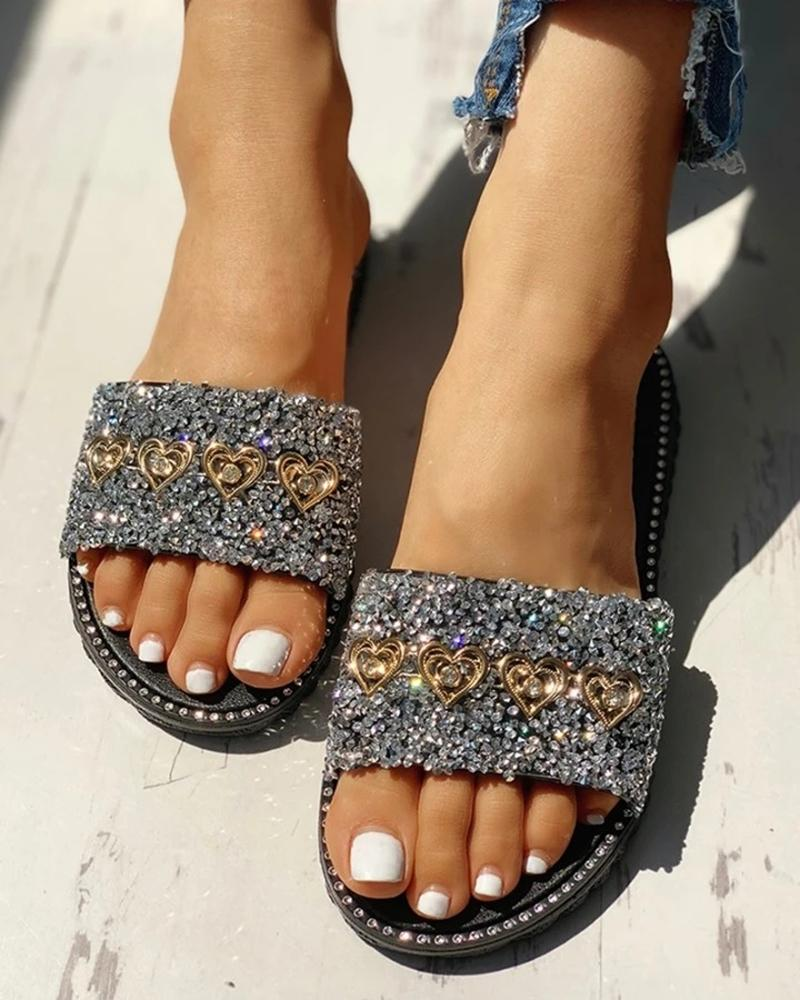 Vieley Womems Open Toe Studded Design Flat Sandals