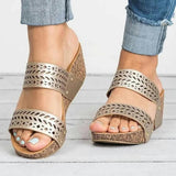 Vieley Wedge Rivet Double Strap Sandals