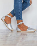 Vieley Espadrille Buckled Ankle Strap Closed Toe Sandals