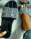 Vieley Bling Crystal Embllished Outdoor Slides