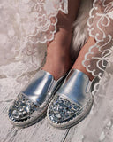 Vieley Women Large Size Rhinestone Flat Slippers