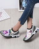 vieley Flower Pattern Knit Slip-on Sneakers