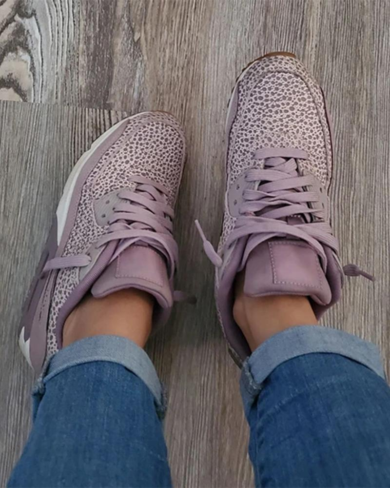 Vieley Leopard Lace-up Purple Comfortable Sneakers