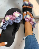 Vieley Womens Floral Wedge Sandals Casual Beach Slippers