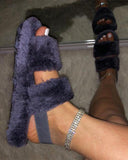 Vieley Fluffy Slides Slingback Double Band Flat Furry Sandal Shoes