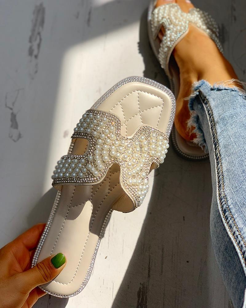 Vieley Womens Glittering Slip On Cute Slides