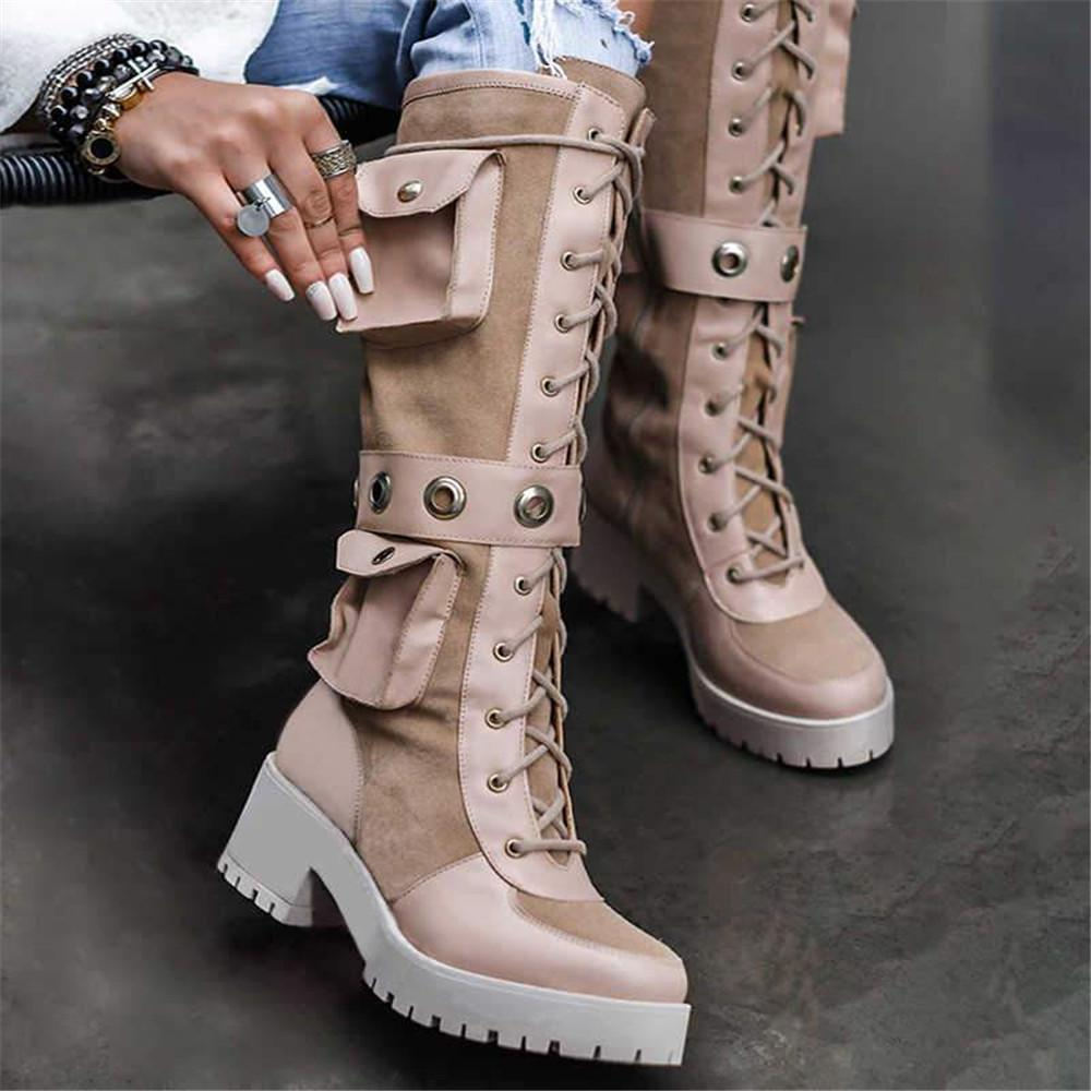 Vieley Lace-up Round Toe Poket Embellished Mid Calf Martin Boots
