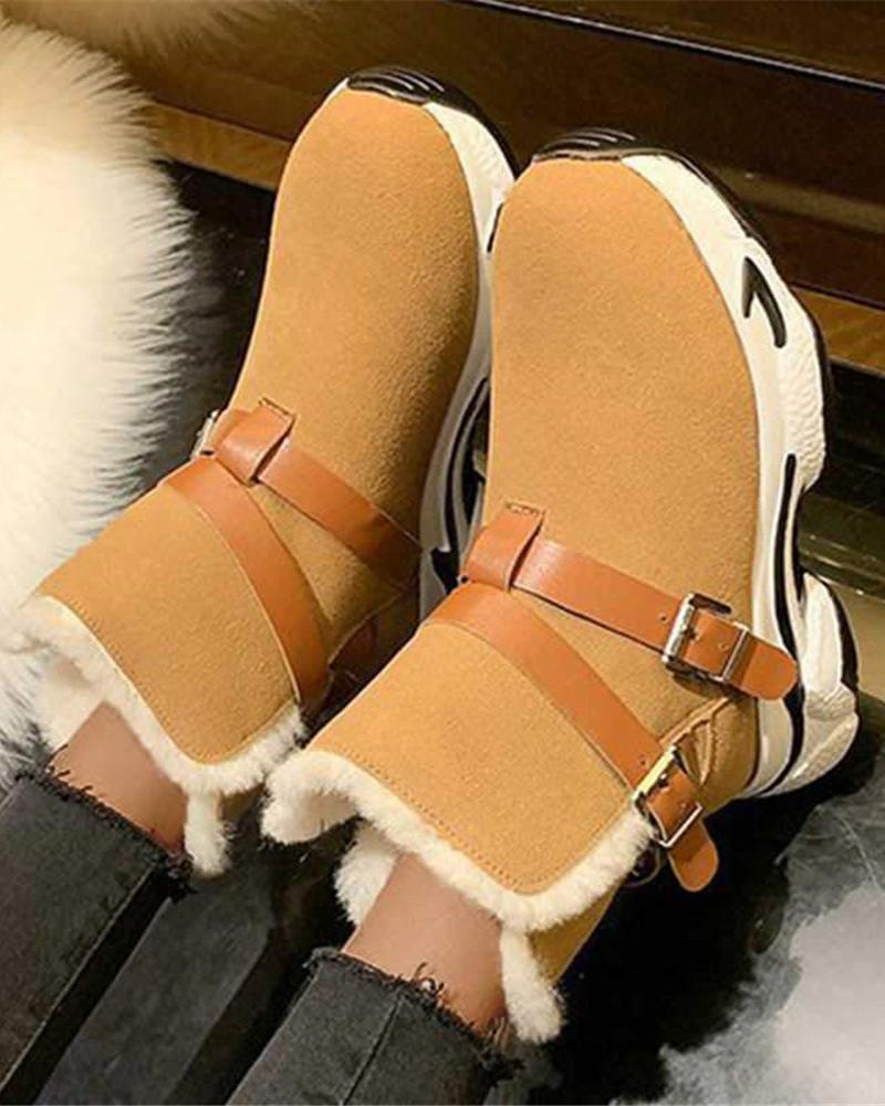 Vieley Warm Suede Snow Boots Adjustable Buckled Booties