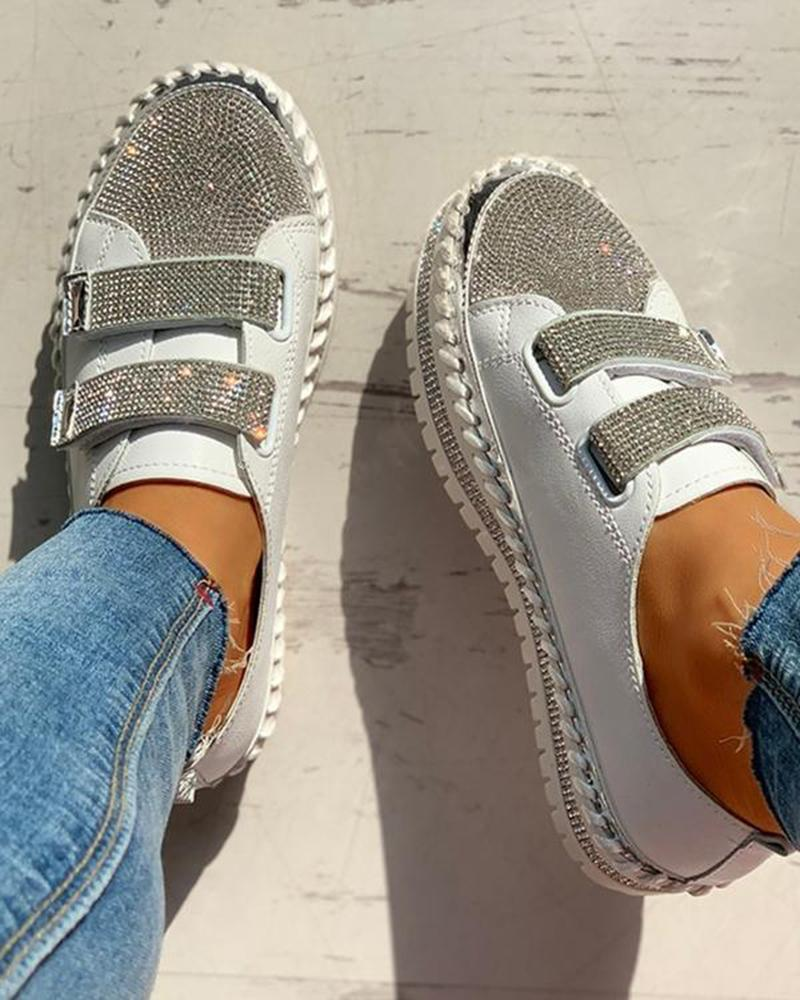 Vieley Studded Sequins Velcro Shiny Two-Strap Emblished Sneakers