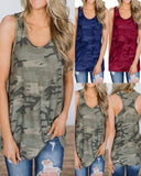 Vieley Sleeveless Camouflage Tanks Tops Round Neck Tees