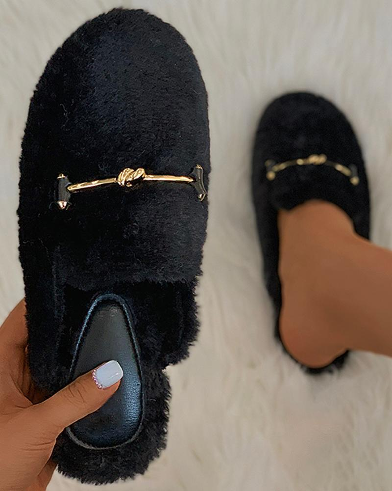 Vieley Round Toe Slip on Fluffy Warm Flat Slippers Shoes