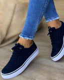 Women's Comfortable Round Toe Lace-up Sneaker Shoes