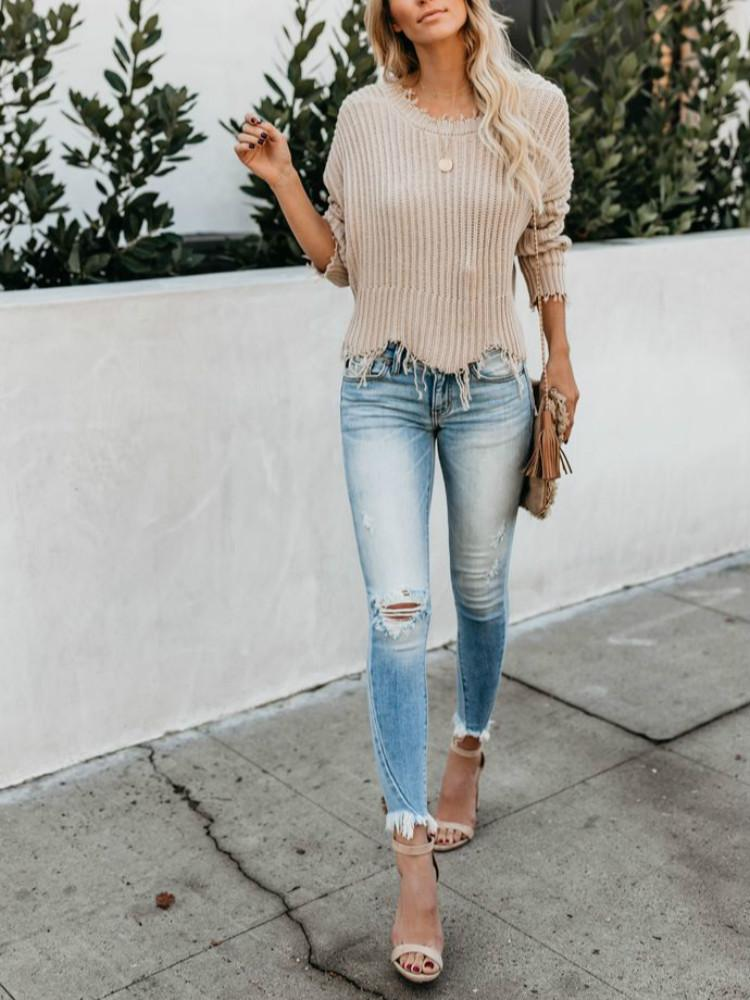 Vieley Sky Blue High Rise Skinny Ripped Pants Frayed Crop Jeans