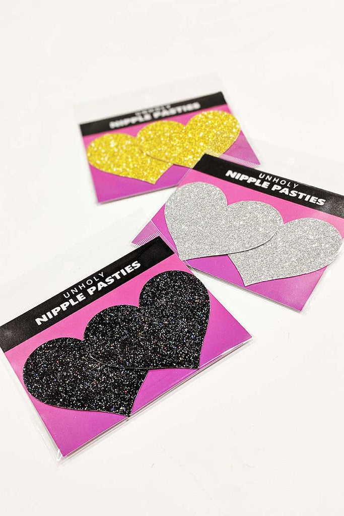 Onyx Sparkle Heart Pasties