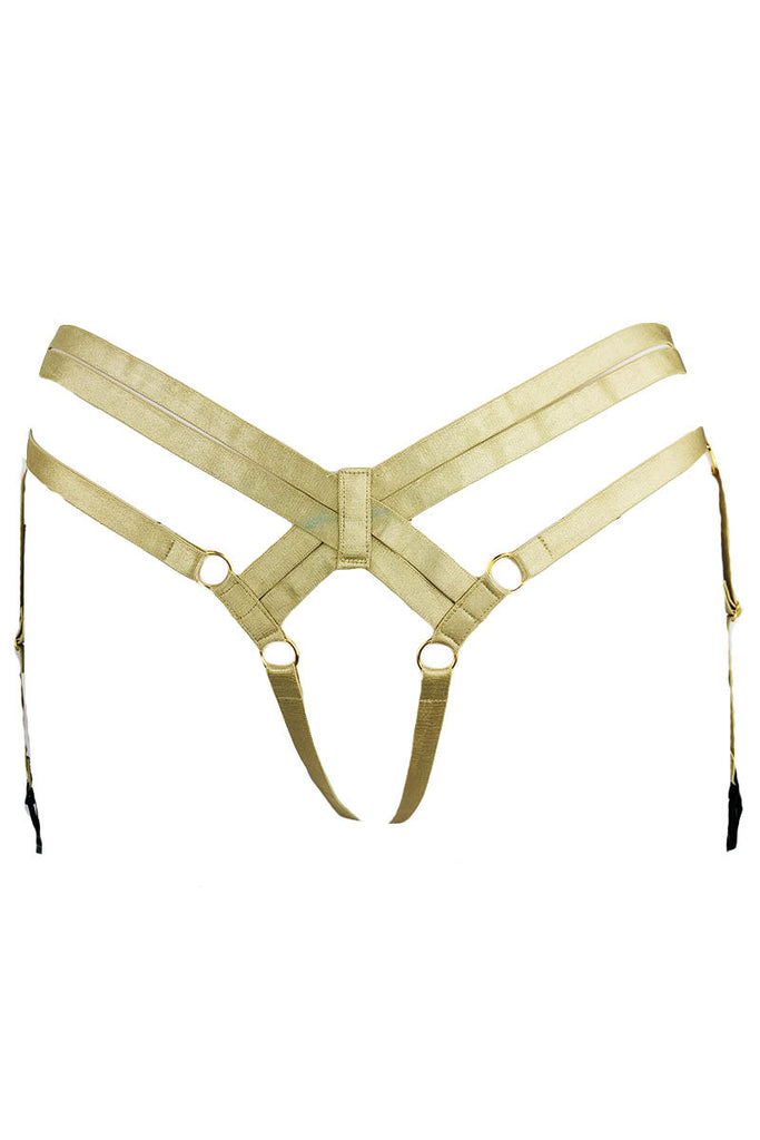 Cleo Frame Cage Brief Suspenders Gold