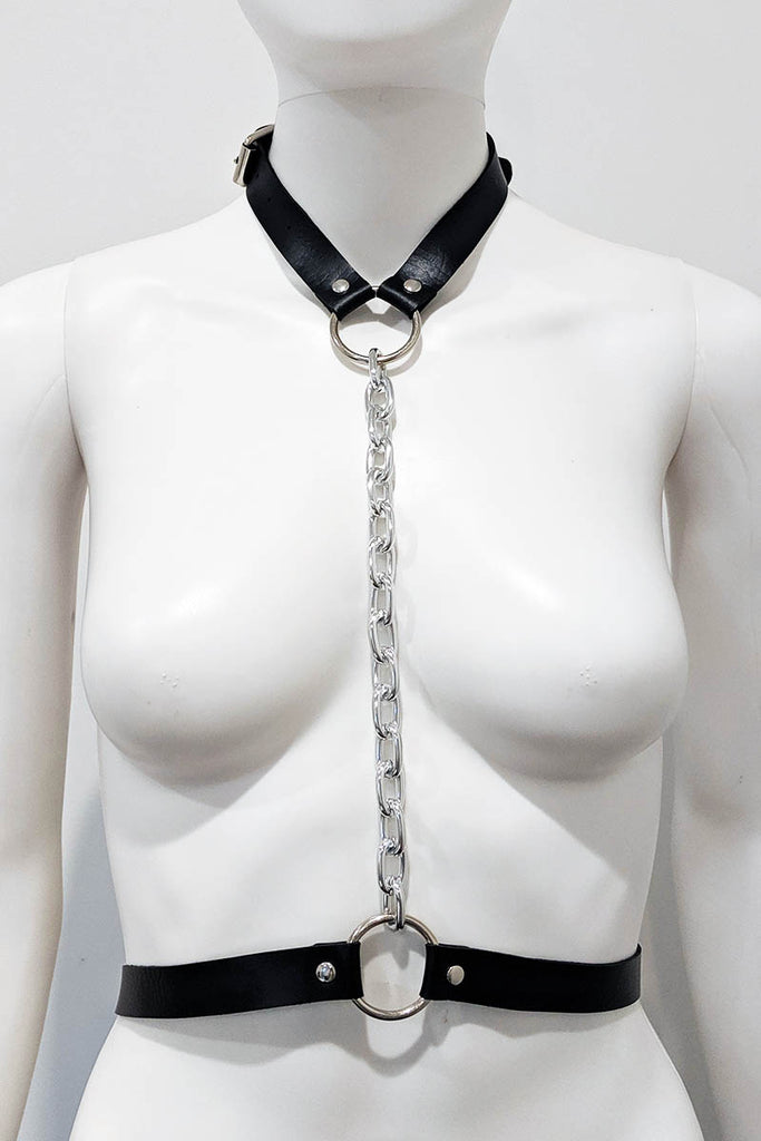 Ethan Pleather Choker Body Harness Black