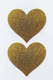 Golden Sparkle Heart Pasties